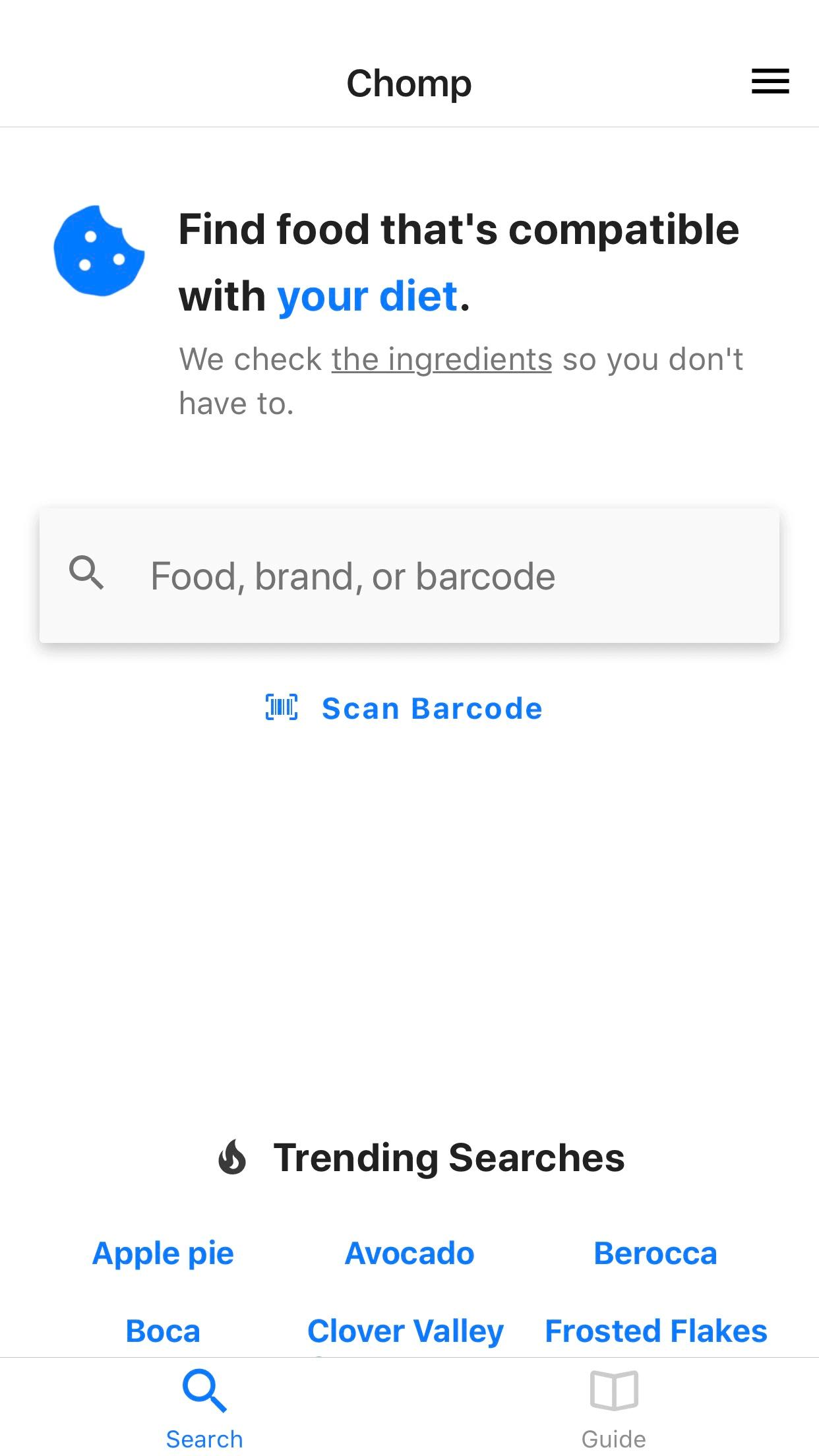 Chomp app landing page